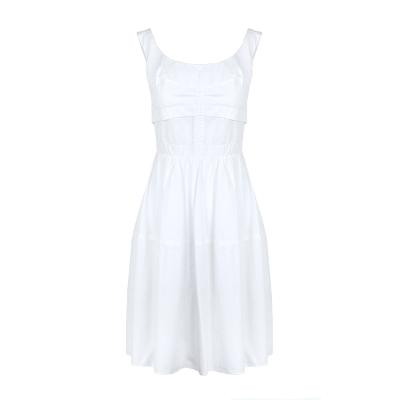 sleeveless flare dress white